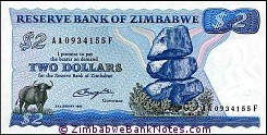 Zimbabwe 2 Dollars Bank Note P1