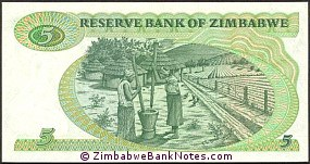 Zimbabwe 5 Dollars Bank Note P2 Reverse