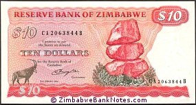Zimbabwe 10 Dollars Bank Note P3