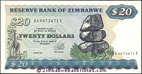 Zimbabwe 20 Dollars Bank Note P4