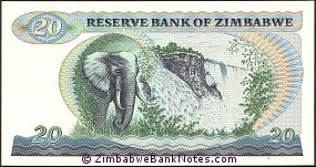 Zimbabwe 20 Dollars Bank Note P4 Reverse